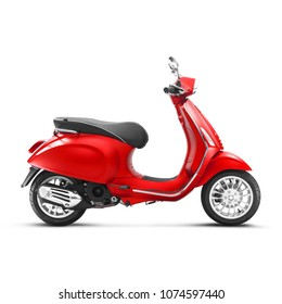 Motor Scooter Isolated on White Background. Side View of Vintage Electric Retro Red Motorcycle with Step-Through Frame and Platform. Modern Personal Transport. 3D Rendering. Classic Vehicle