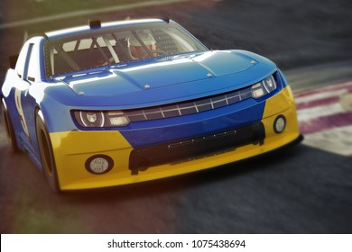 Motor sports race car Front angled view speeding down a track .Generic race car,  3d rendering