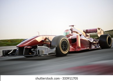 Motor sports race car side angled view speeding down a track with motion blur. Photo realistic 3d scene with room for text or copy space