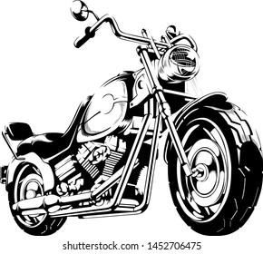 motorbike Illustration black and white speed