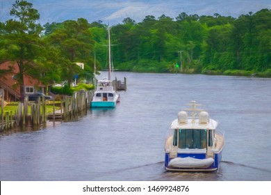 Motorboat with dinghy aboard about to pass by two yachts, a motorboat and a sailboat, docked along curved shore of Atlantic Intracoastal Waterway in North Carolina, USA, with digital painting effect