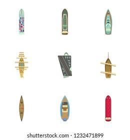 Motorboat icons set. Cartoon set of 9 motorboat icons for web isolated on white background