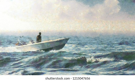 Motorboat sailing on the sea, Painting of a Sailor is driving a motorboat