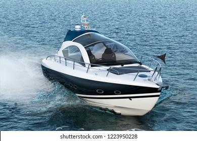 Motorboat in the sea, 3D rendering