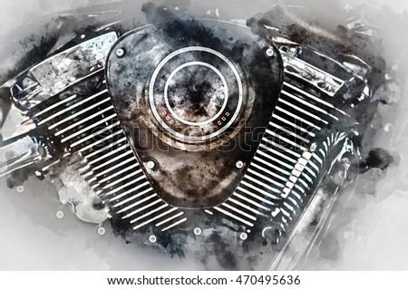Motorcycle engine closeup Digital