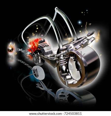 Motorcycle heavy metal black rendering stock illustration jpg 450x470 Heavy  metal motorcycles 911a241b7d33