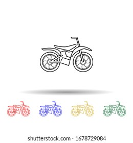 Motorcycle multi color style icon. Simple thin line, outline illustration of bigfoot car icons for ui and ux, website or mobile application
