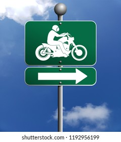 motorcycle and Rider silhouette sign with arrow pointing Direction Against the Sky with clouds