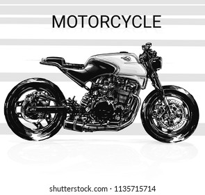 motorcycle sketch illustration