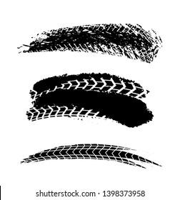 Motorcycle tire tracks illustration. Grunge element useful for poster, print, flyer, book, booklet, brochure and leaflet design. Graphic image in black color on a white background.