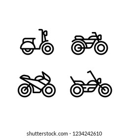 Motorcycle types line icon set. Classic motorbike, sports bike, scooter and chopper. Simple and minimal illustrations.