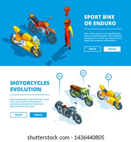 Motorcycles banners. template design of horizontal banners for motorsport. Motorcycle isometric transport, bike banner evolution illustration