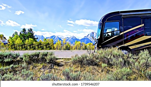 Motorhome Recreational Vehicle RV parked at viewpoint of Grand Teton National Park mountains