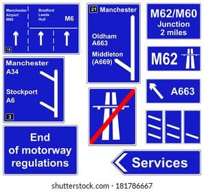 Motorway regulations signs collage