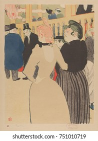 Moulin Rouge: La Goulue and Her Sister, by Henri de Toulouse-Lautrec, 1892, Post-Impressionist print. Japanese styled lithograph of Moulin Rouge cancan dancer and her unglamorous sister. Born Louise W