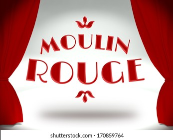 Moulin rouge on theater stage with red curtains, concept of the show