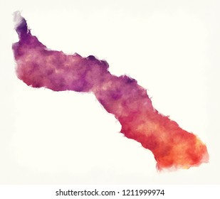 Mount Athos region watercolor map of Greece in front of a white background
