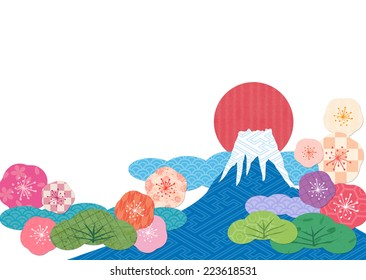 Mount Fuji collage by Japanese pattern
