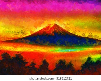 Mount Fuji  - colorful psychedelic oil painting