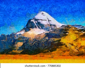 Mount Kailas oil painting