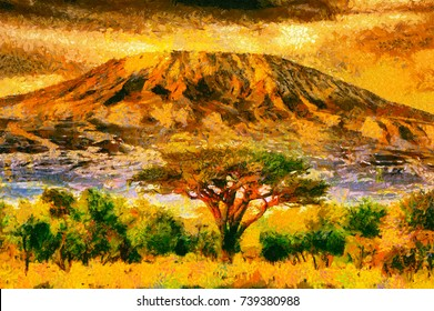 Mount Kilimanjaro view oil painting