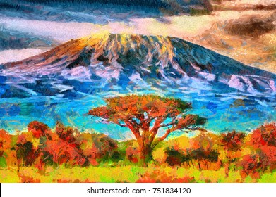 Mount Kilimanjaro view - oil painting