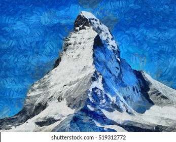 Mount Matterhorn snow face - oil painting
