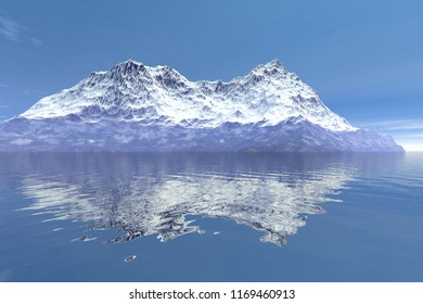 Mountain, 3d rendering, an alpine landscape, snow on the peak, reflection on water and a blue sky.
