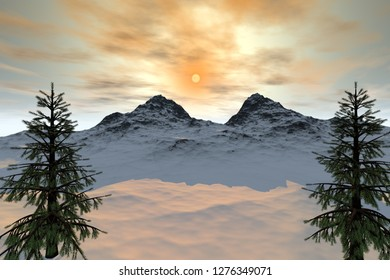 Mountain, 3d rendering, a natural landscape, trees with green leaves, snow on the ground and cloudy sky with wonderful sun.