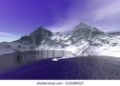 Mountain, 3D rendering, a polar landscape, snow on the ground and a blue sky.