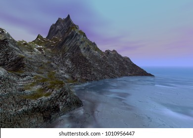 Mountain, 3D rendering, a rocky landscape, grass and snow on the ground, foam in the blue sea and purple clouds in the background.