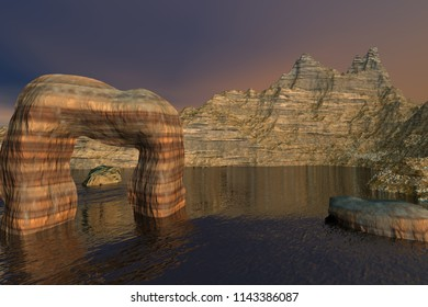 Mountain, 3d rendering, a rocky landscape, stones in the sea and a dark sky.