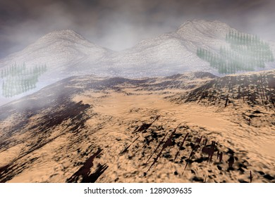 Mountain, 3d rendering, a rocky landscape, forests of coniferous trees, fog and cloudy sky.