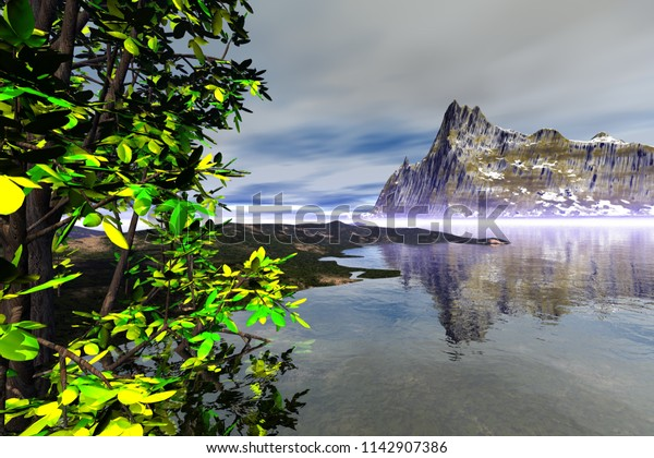 Mountain, 3d rendering, a rocky landscape, snow on the ground, a tree in the foreground and clouds in the sky.