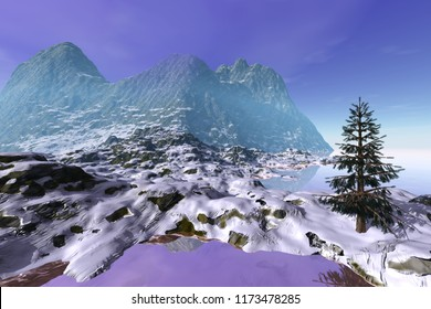 Mountain, 3d rendering, a winter landscape, a beautiful tree, snow on the ground and a cloudy sky.