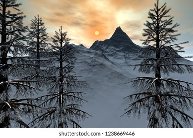 Mountain, 3d rendering,  a winter landscape,  snowy trees and a wonderful sun in the sky.