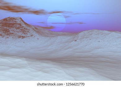 Mountain, 3d rendering, a winter landscape, snow on the ground and a beautiful sun in the sky.