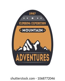 Mountain adventures vintage isolated badge. Outdoor explorer sign, touristic expedition label, nature hiking and climbing illustration
