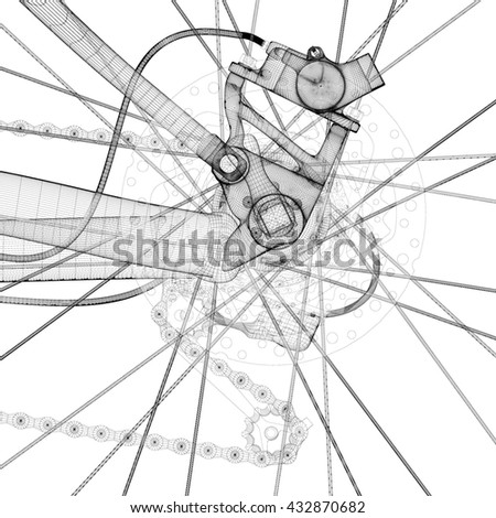 Mountain Bicycle 3 D Model Body Structure Stock Illustration