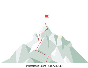 Mountain climbing route to peak. Business journey path in progress to peak of success. Climbing road to top. illustration.