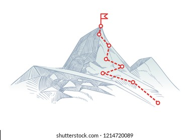 Mountain climbing route to peak. Business journey path in progress to success concept
