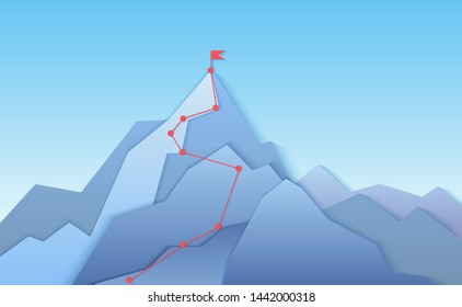 Mountain climbing route to peak landscape. Climbing pointed road to layered paper style mountain top. Business progress path to peak of success concept illustration.