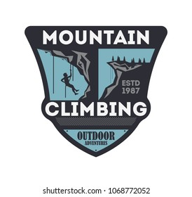 Mountain climbing vintage isolated badge. Outdoor explorer sign, touristic expedition label, nature hiking and trekking illustration