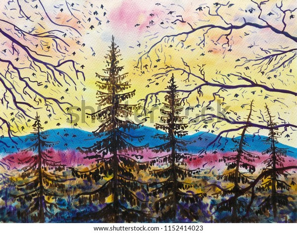 Mountain evening landscape. Sunset time. In the foreground there are spruce trees and beech branches are visible. In the background there is a mountain ridge. Watercolor painting on paper.