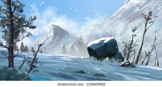 Mountain. Fiction. Concept Art. Realistic Style. Video Game Digital CG Artwork, Concept Illustration, Realistic Cartoon Style Scene Design