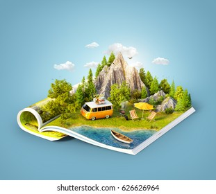 Mountain, forest, green meadow and car near a lake on opened pages of magazine. Unusual 3d illustration. Travel and camping concept. Family picnic