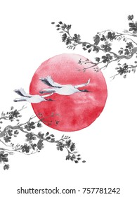Mountain Fuji with branch of cherry blossom , Pagoda, sun and Red-crowned crane. Symbol of japan.