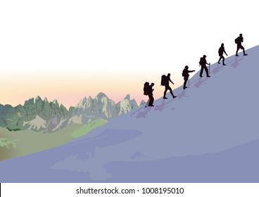 Mountain hiking in the group, Illustration