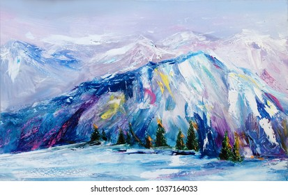 Mountain, hills and mount chain landscape, oil on canvas, painting, pictorial art