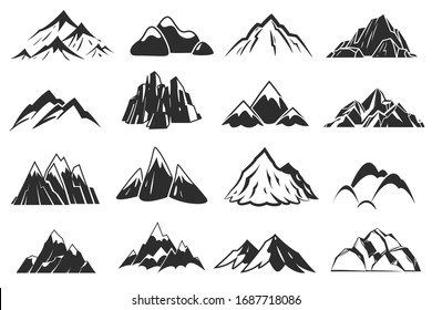 Mountain icons. Mountains top silhouette shapes, snow rocky range. Outdoor landscape hill peaks symbols hand drawn climbing mont nature isolated set